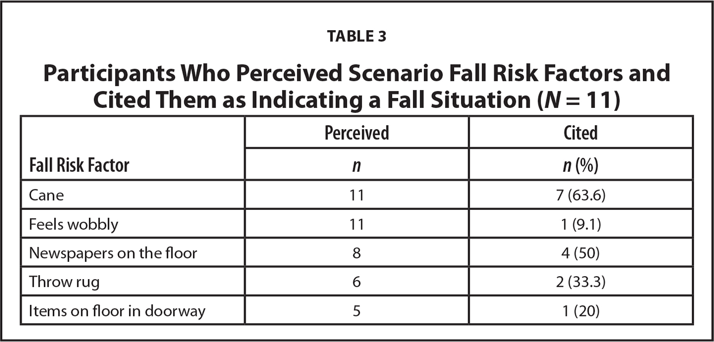 Participants Who Perceived Scenario Fall Risk Factors and Cited Them as Indicating a Fall Situation (N = 11)
