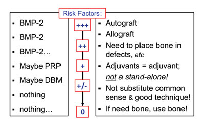 Schematic hierarchy of risk factors, bone graft, and osteobiologic adjuvants