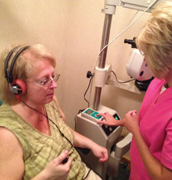 Dr. Wallace's staff conducts the initial 45-second hearing screening.