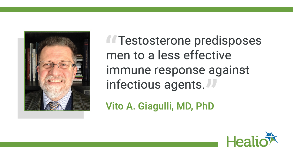 """Testosterone predisposes men to a less effective immune response against infectious agents."" Vito A. Giagulli, MD, PhD"