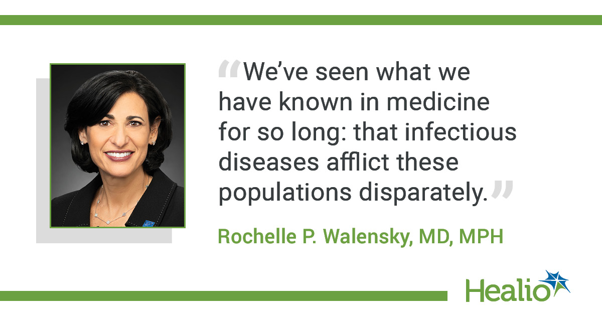 "The quote is: ""We've seen what we have known in medicine for so long: that infectious diseases afflict these populations disparately."" The source of the quote is Rochelle P. Walensky, MD, MPH."