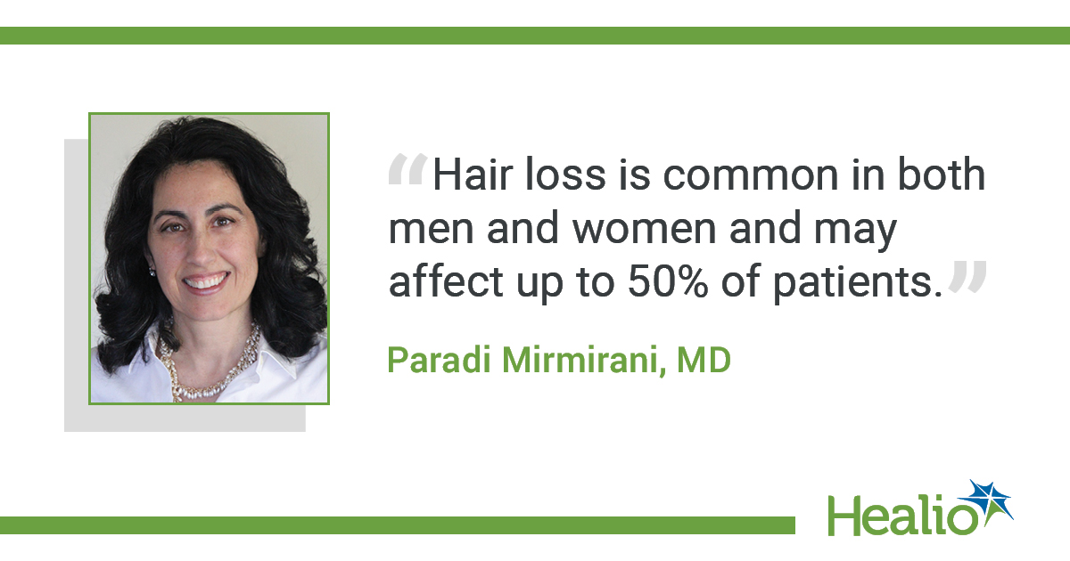 """The quote is: """"Hair loss is common in both men and women and may affect up to 50% of patients."""" The source of the quote is: Paradi Mirmirani, MD. You can find her mug in the story folder."""