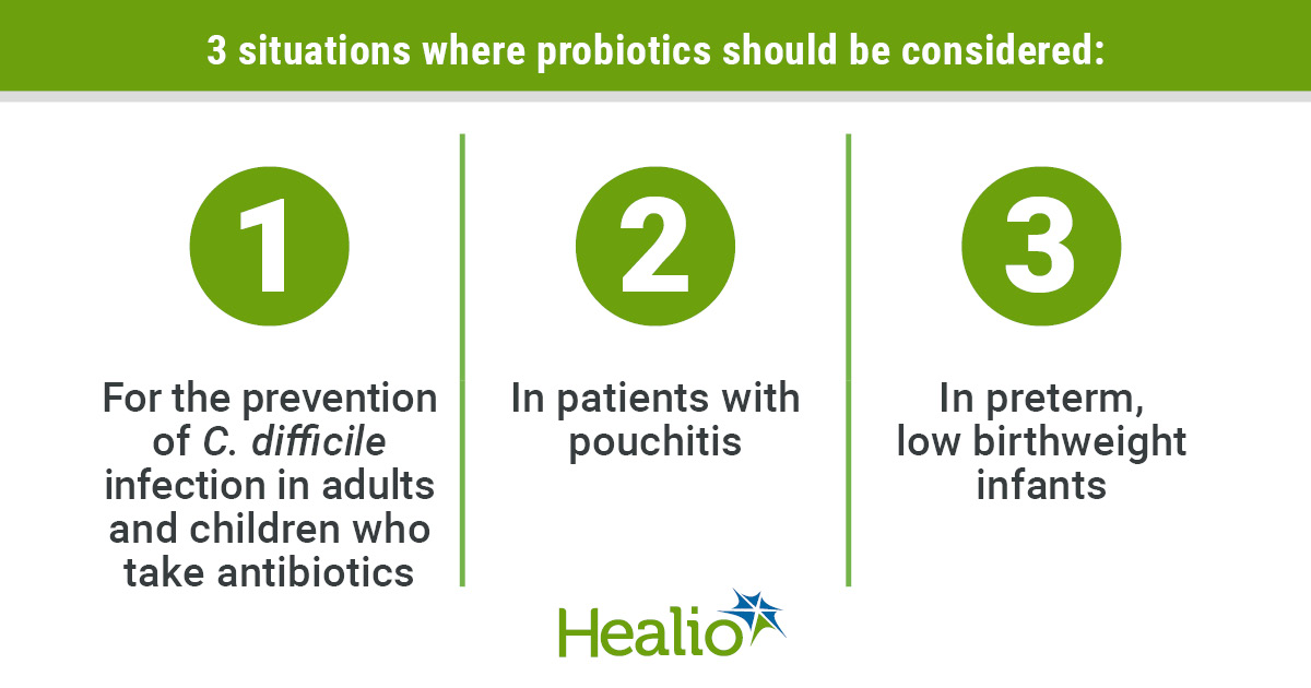 Infographic on the AGA's suggested uses for probiotics.