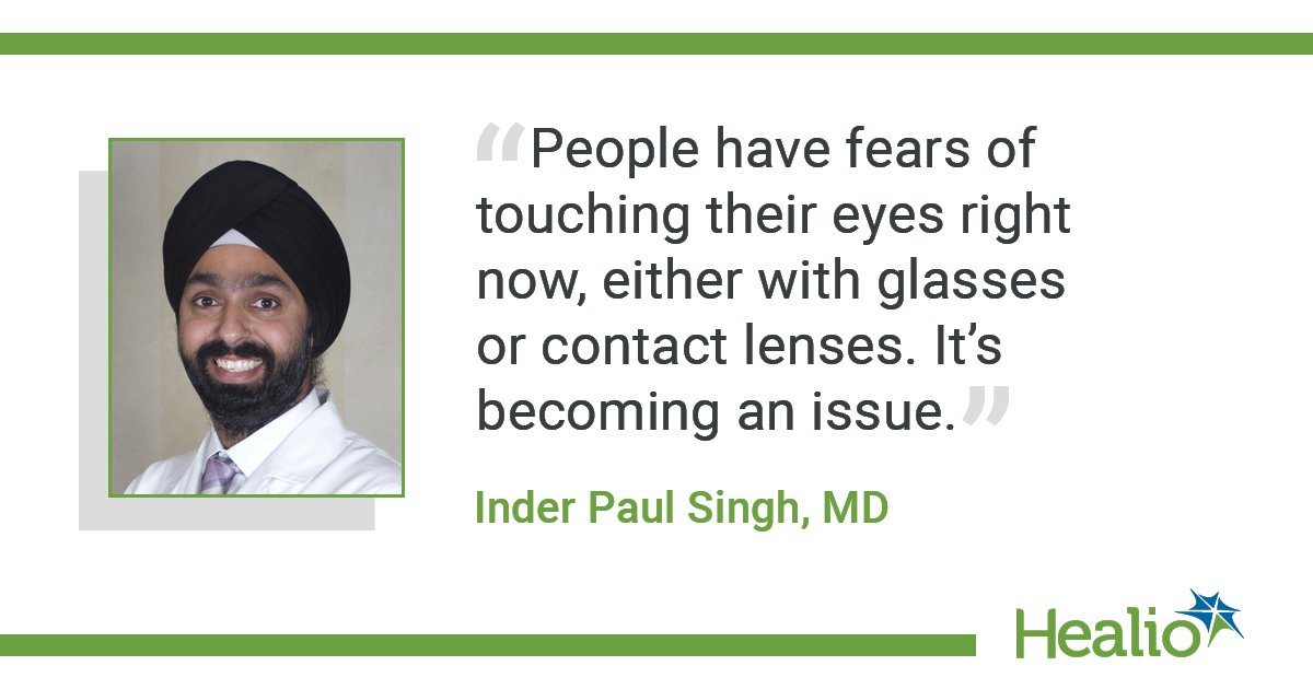 A quote from Inder Paul Singh on the fear people have for touching their eyes.