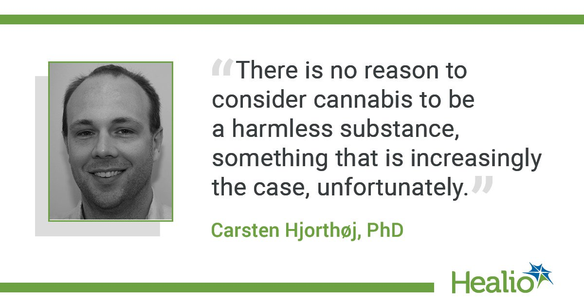 infographic with Hjorthoj quote about dangers of cannabis use