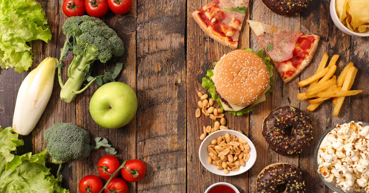 Various healthy and unhealthy foods