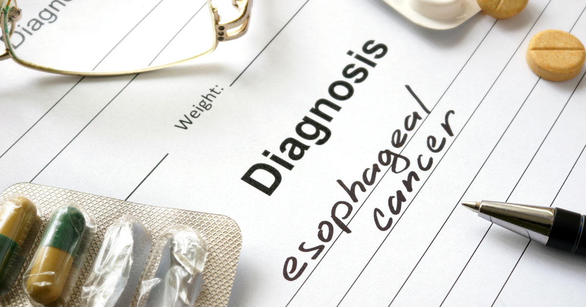 Diagnosis esophageal cancer written in the diagnostic form and pills.